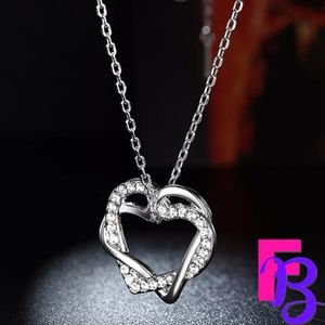 18k White Gold Heart to Heart CZ Necklace